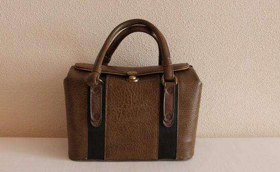 Vintage Hand Bag Box Bag Brown Vinyl Box Bag Cube