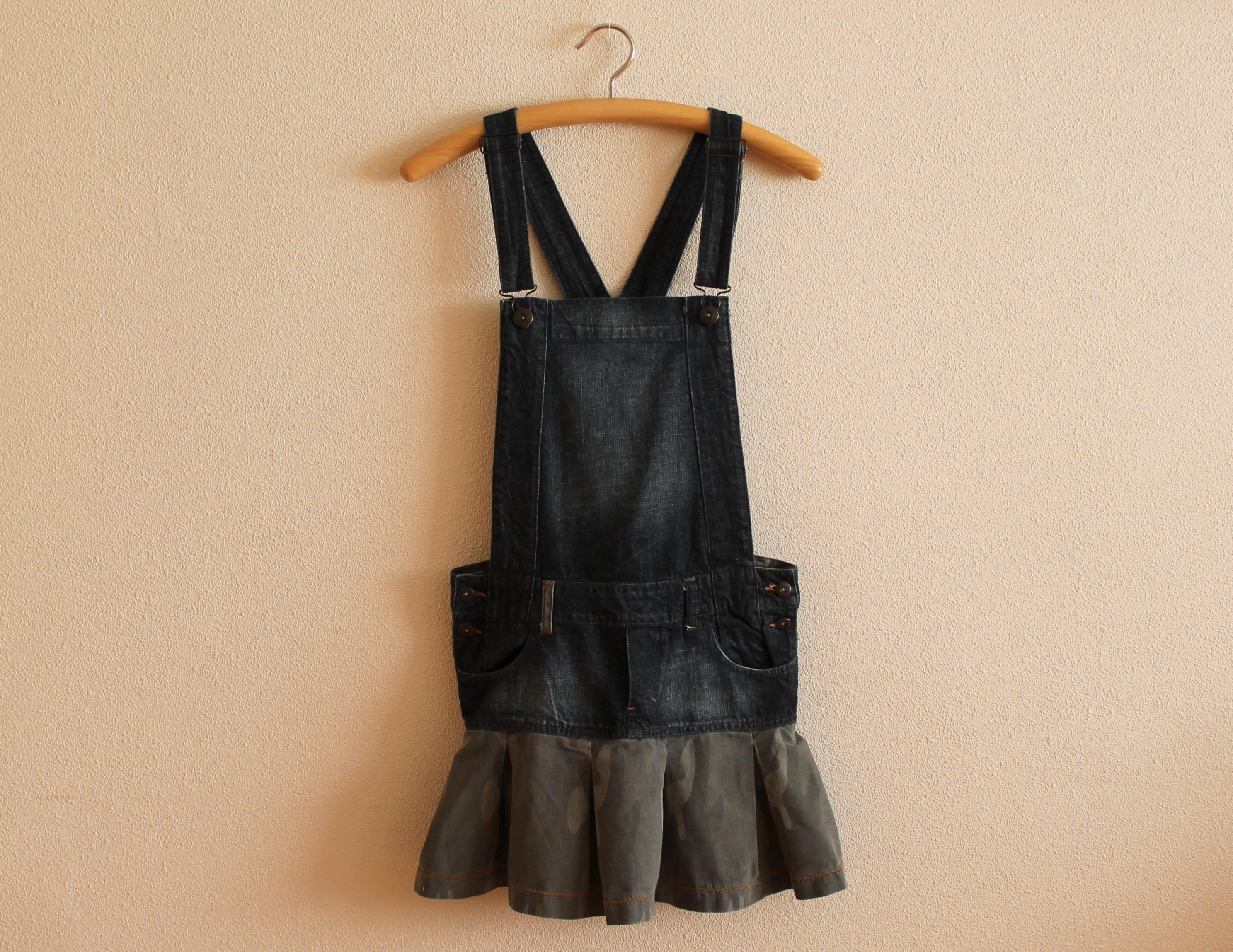 a53ed6fe2d21 Blue Denim Jumper Dress Overall Oversized Bib Dress Cotton