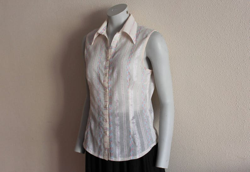 Sleeveless Blouse Ivory Pink Striped Top Cotton Blend Top Sleeveless Summer Blouse Button up Extra Large Size