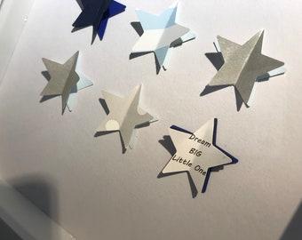 Framed Art, 3D Stars. Perfect for Birthdays Christenings, New Baby, Baby Shower Gift.