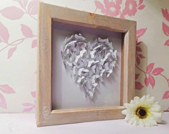 Framed Wall Art, Personalised Framed Art, 3D Butterfly Heart Wall Art, Perfect Wedding Gift, Anniversary Gift or Birthday Gift, 3D Paper Art