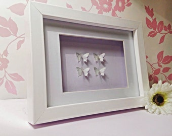 Framed Wall Art, Personalised Framed Art, 3D Butterfly Wall Art, Perfect Wedding Gift, Anniversary Gift or Birthday Gift, 3D Paper Art