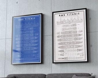 """RMS Titanic Deck Plans - Titanic Blueprints Poster - 11x17"""""""