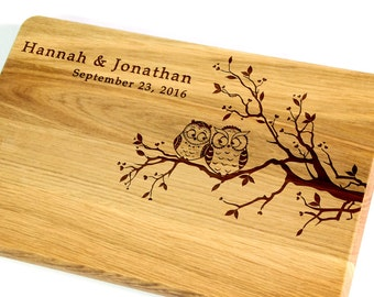 Cutting board Wedding gift Owls Personalized Cutting Board Personalized Wedding gift for couple Bridal Shower Gift Gift for bride and groom