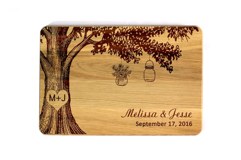 Wedding Cutting board Mason Jar Family tree Personalized image 0