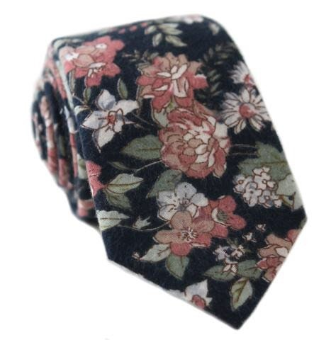 b8811f0a13d7 Dark Blue Necktie Dark Blue Flower Tie Mens Tie Mens Skinny   Etsy