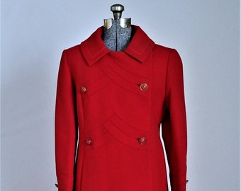 """Vintage Coat 1960s Mod Red Coat 100% Wool """"Stegari New York"""" for Higbee's"""" 60s Coat Chevron Detail on Bodice and Cuffs Vintage Clothing"""