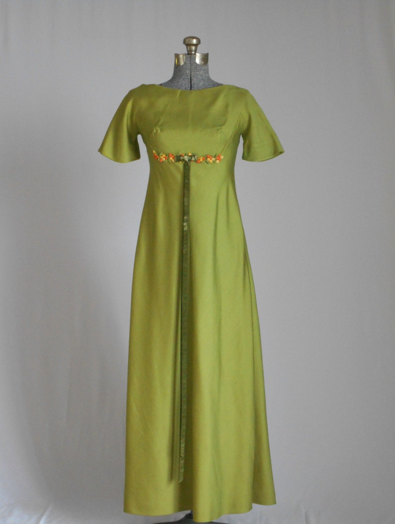 Vintage Dress 1960s Maxi Dress Vintage Gown Retro Olive Green  4605eb648
