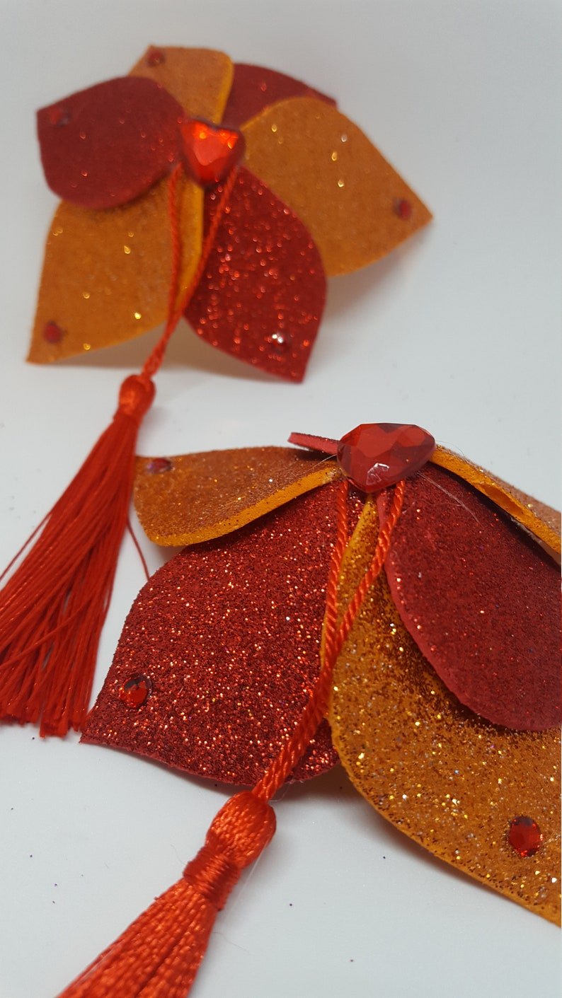 Red and Orange Fire Flower Pasties with Heart Rhinestones