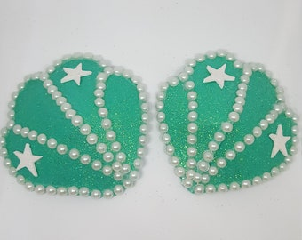 Teal Star Seashell Pearl Pasties