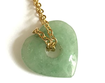 Agate Gemstone Heart Pendant Necklace