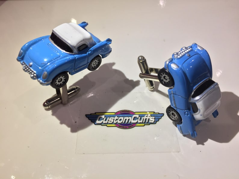 Perfect fathers day  valentines  birthday  wedding or christmas gift Vintage Micro Machine Car Cufflinks 1955 Corvette Blue