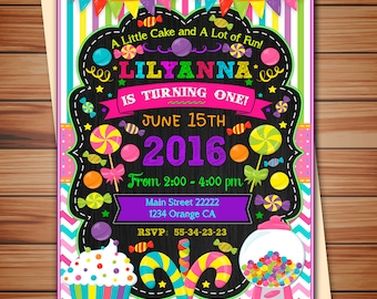 Candyland Party Invitation For Girl Digital Chalkboard Candy Thank You Card Free Print It Yourself