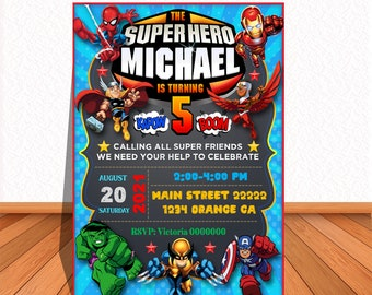 Super Hero S. EDITABLE and or PERSONALIZED printable invitation, instant download, free thank you card!, Edit and print yourself!