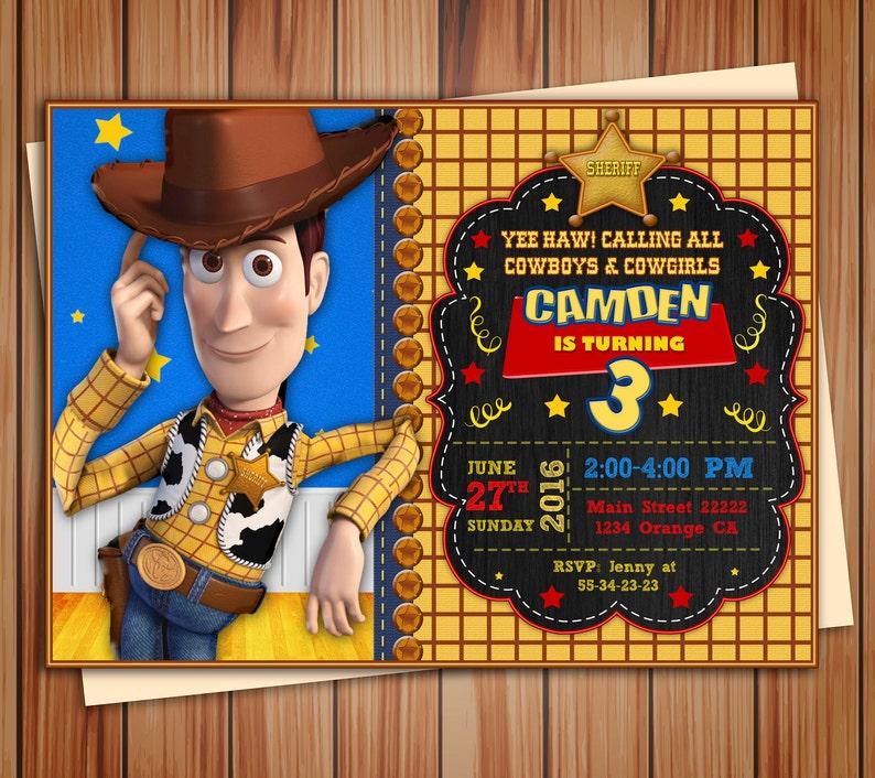 Foto De Woody Toy Story Cumpleanos Partido Invitacion Pizarra Etsy