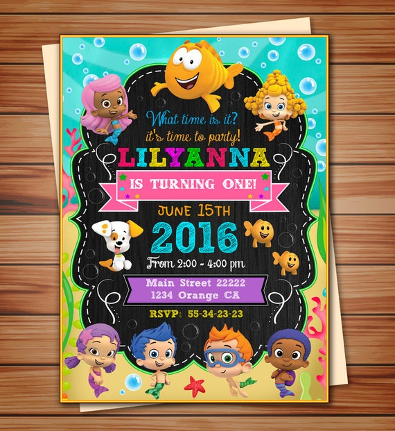 Bubble Guppies party invitation for Girl Bubble Guppies