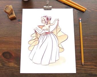 Original Marker Illustration - Futuristic Rococo Princess PRINT