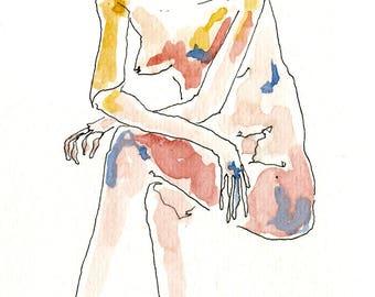Lady Waiting- Postcard