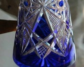 French crystal decanter Baccarat TSAR blue cobalt Stunning pair cut-to-clear TSAR decanters Blue cobalt pyramid Baccarat crystal decanters