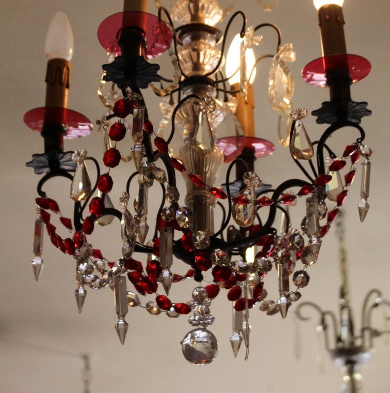 Lustre rouge cristal lustre salle de bain lustre Eclairage | Etsy