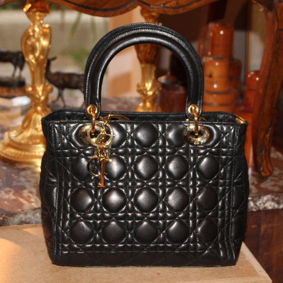 Black LADY DIOR BAG Lambskin Womens designer bag L