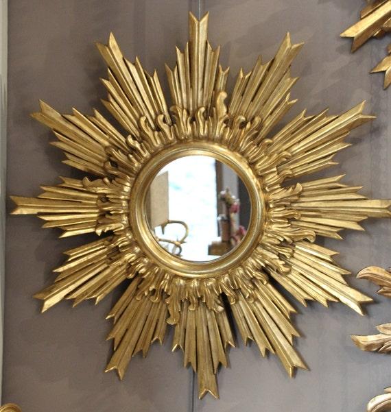 French Vintage Gilt Wood Mirror Round Mirror Sunburst Mirror Etsy