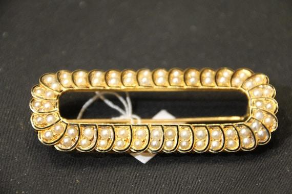 Pearl 18K gold enamel brooch, French antique brooc