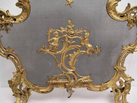 Antique Fireplace Screen Bronze, Brass Fireplace Screen Vintage