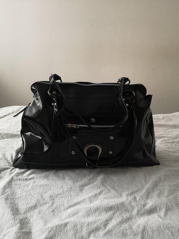 Large handbag black leather Shoulder bag Black pat