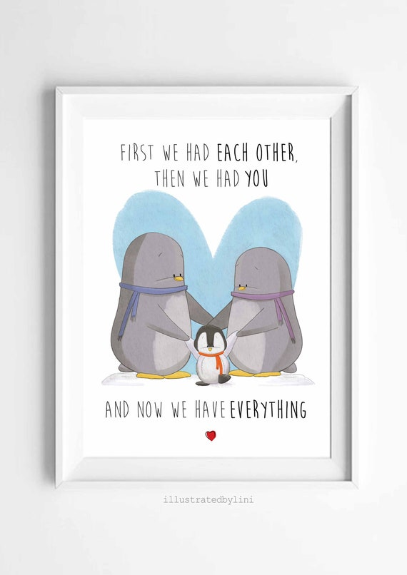 penguin family quote a4 gloss poster Print picture watercolour  UNFRAMED