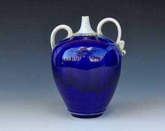 Midnight Blue and Snow White Porcelain Bottle with Asymmetric Handles
