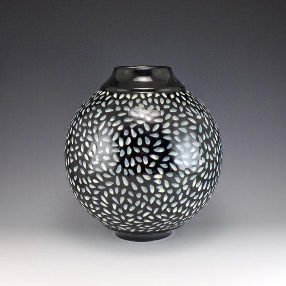 Black And White Polka Dot Contemporary Porcelain Vase Etsy