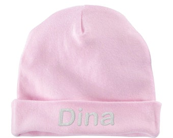 Custom Newborn Baby Infant Hat Cap Embroidered Any Thread Color Any Name