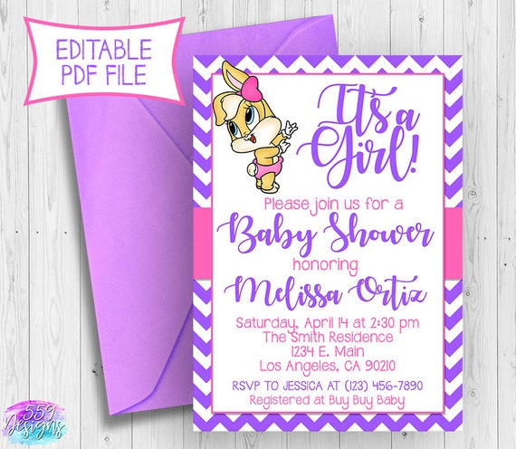 It S A Girl Looney Tunes Baby Shower Invitation Editable Pdf Lola Bunny Shower Bugs Bunny Purple Girl Shower Invite Instant Download 018