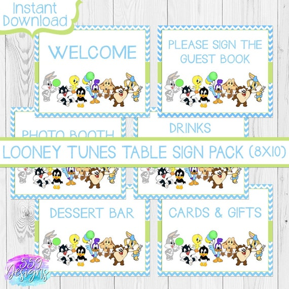 Baby Looney Tunes Baby Shower Table Signs Pack Of Etsy
