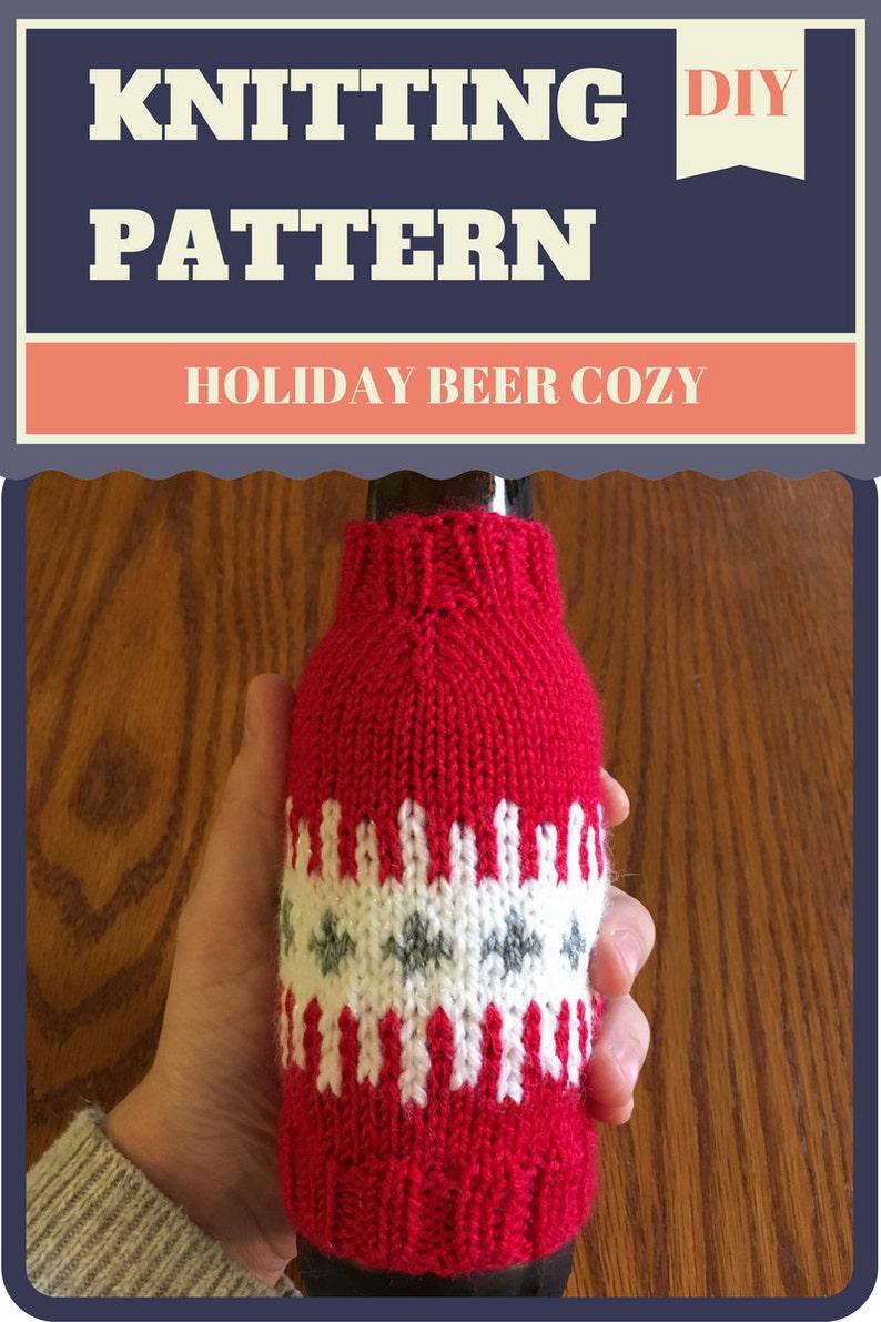 Knitting Pattern: Holiday Beer Cozy Sleeve Seamless Fair Isle image 0