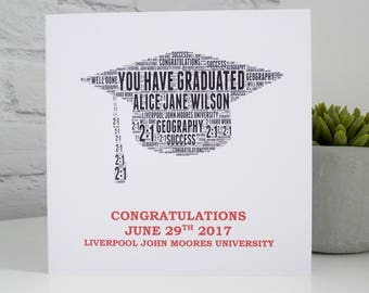 Personalised Graduation Card, Personalised Card, Personalised Word Art Card, Special Card, Graduation Card