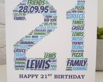 Personalised 21st Birthday Card Special