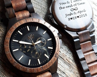 Wood Watch, Wooden watch, Engraved watch, Watch for mens, Personalized Watch, Gift for him, Mens gift, Gift for dad, Groomsmen Watch, TN30