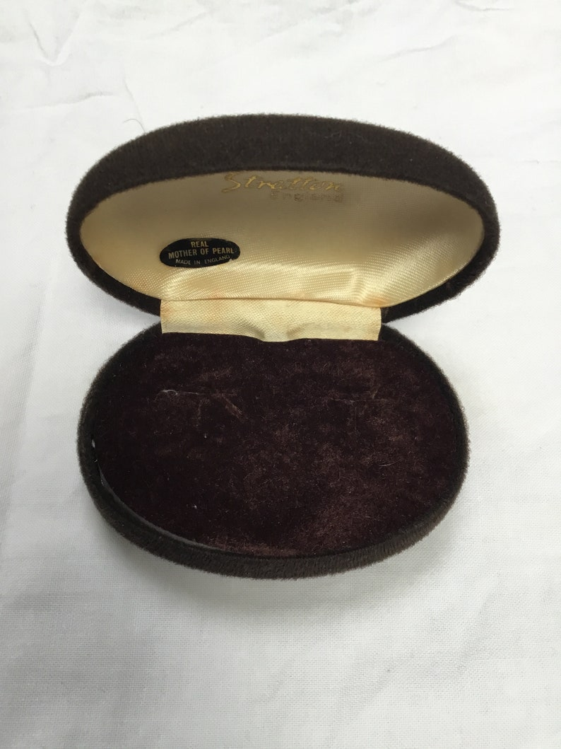 Vintage Stratton 1970s brown jewellery box cream inside