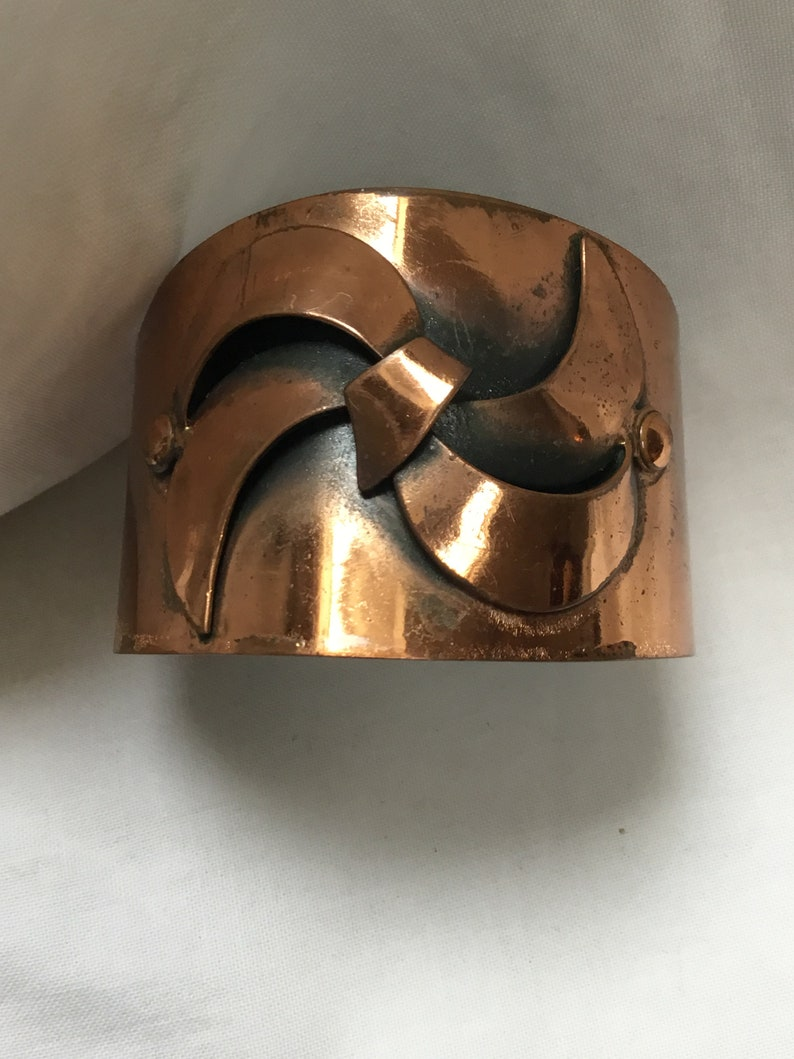 Vintage mid Century copper wide cuff bangle abstract design on front