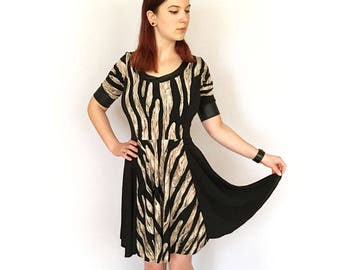 Zebra Print Colorblock Dress, Striped Skater Dress, Graphic Print Dress, Striped Sundress, Animal Print Dress, Full Flare Dress