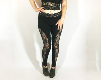 f2c4c1484a51f High Waist Lace Cutout Leggings