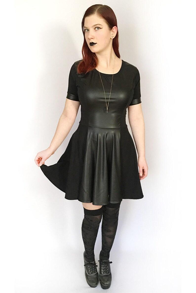 f7bdf5f4c5 Faux Leather Dress Skater Skirt Dress Leather Skater Dress