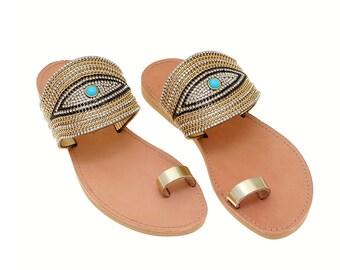 c8173f0af Evil Eye Gold Sandals-Gold Strap Sandals-Bridal Luxury Leather Sandals-Beach  Summer Wedding shoes- Minimal Sandals