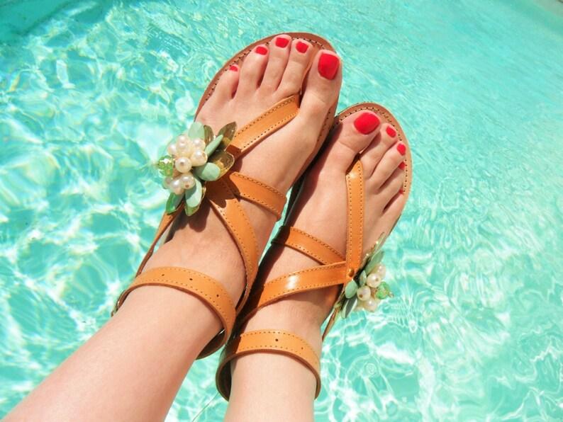 Flower Pearl Aqua Gladiator Leather Sandals-Lace up Embellished Sandals-Pearl Sandals-Bridal Luxury Leather Sandals-Tie up Sandals