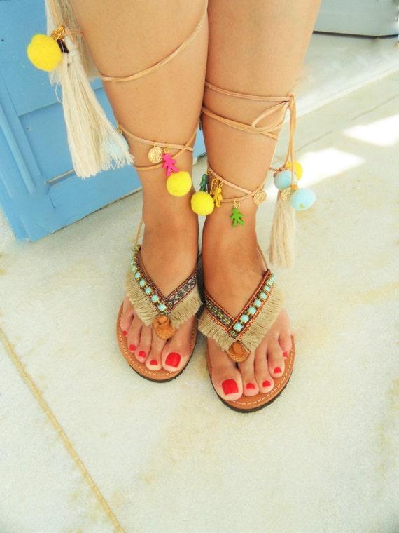 f43afc656d21a Flip Flop Tie Up Boho Gladiator Leather Sandals-Lace up Embellished  Sandals-Pom pom Sandals-Luxury Leather Sandals-Tassel Tie up Sandals
