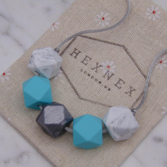 Tiffany Blue Baby Proof Teething Necklace New Mum Gift  457d303c7e9