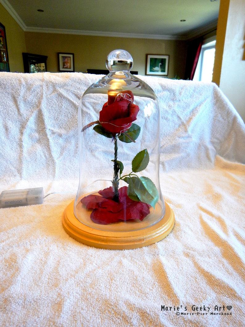 Belle Et La Bete Disney Enchanted Rose En Dome De Verre Etsy