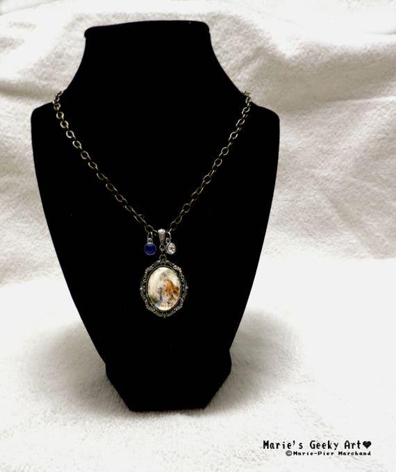 Alice in Wonderland cameo white rabbit portrait pendant on chain necklace